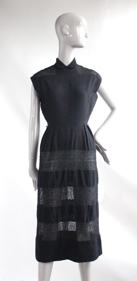 I Magnin Black Wool & Embroidered Dress, ca.1940's
