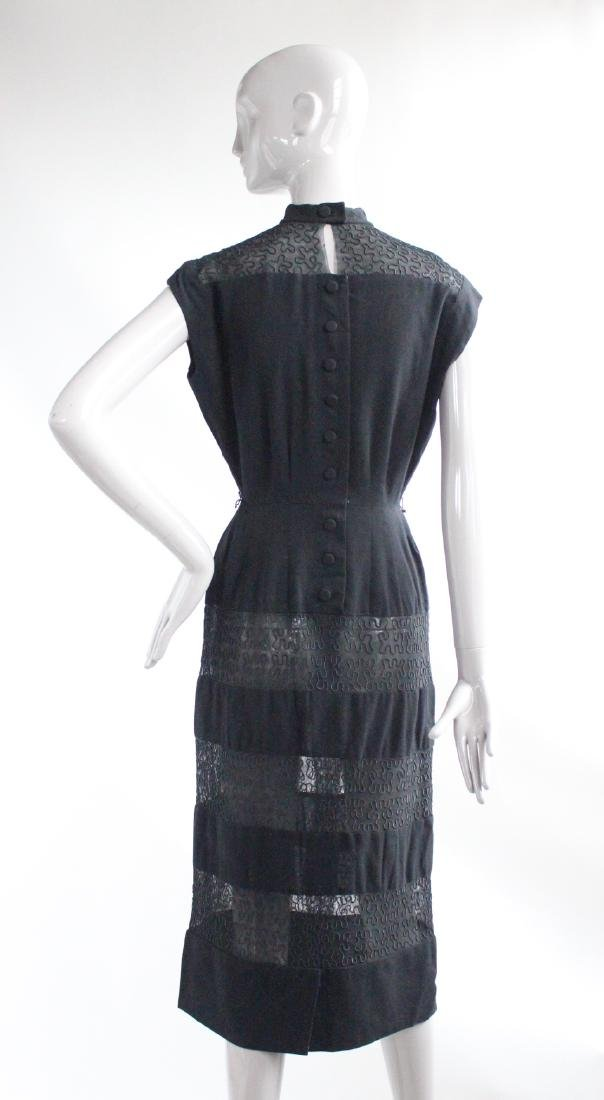 I Magnin Black Wool & Embroidered Dress, ca.1940's - 2