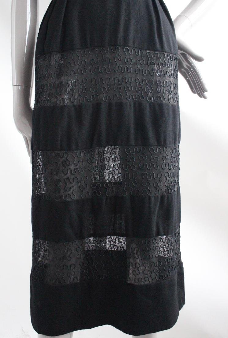 I Magnin Black Wool & Embroidered Dress, ca.1940's - 4