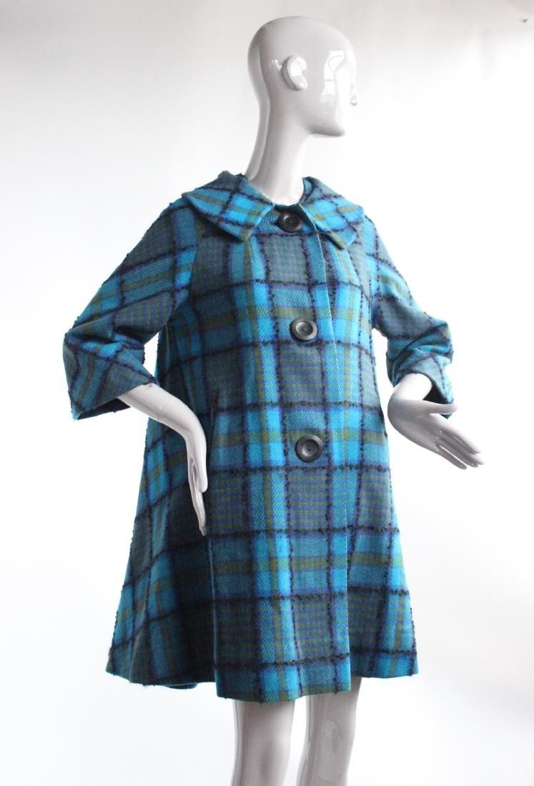 Pauline Trigere Plaid Trapeze Coat ca. 1961