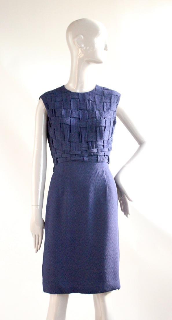Santogostino Navy Blue Silk Dress, ca. 1960's