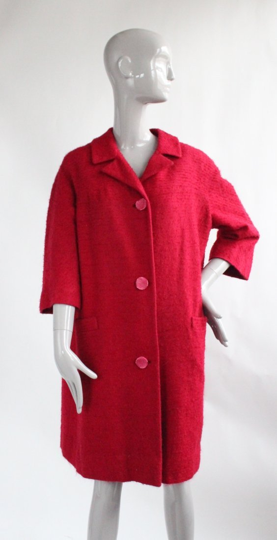 Saks Fifth Avenue Protegee Red Tweed Coat, 1960's