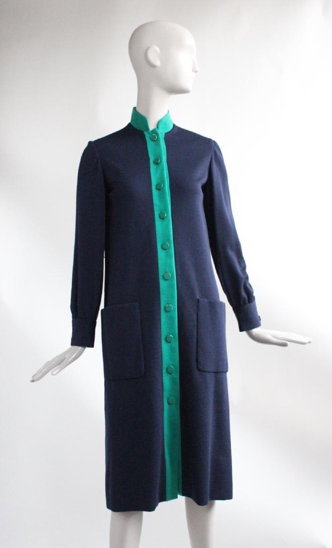 Norman Norell Blue & Green Wool Knit Dress, c1960's