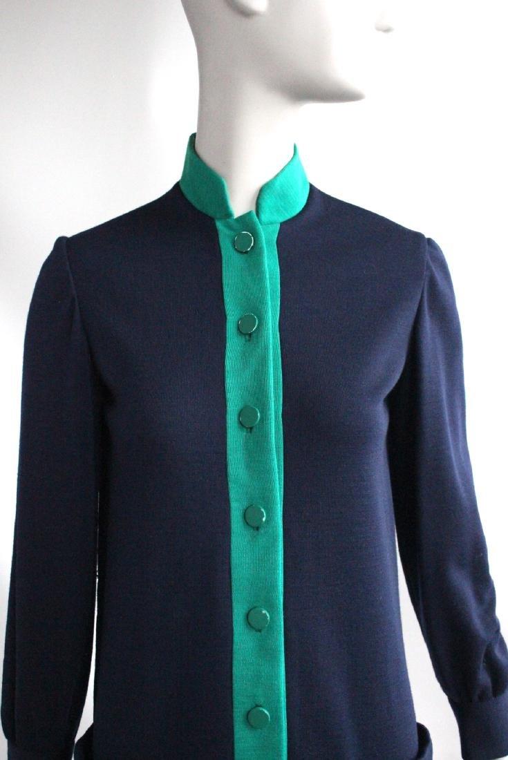 Norman Norell Blue & Green Wool Knit Dress, c1960's - 2