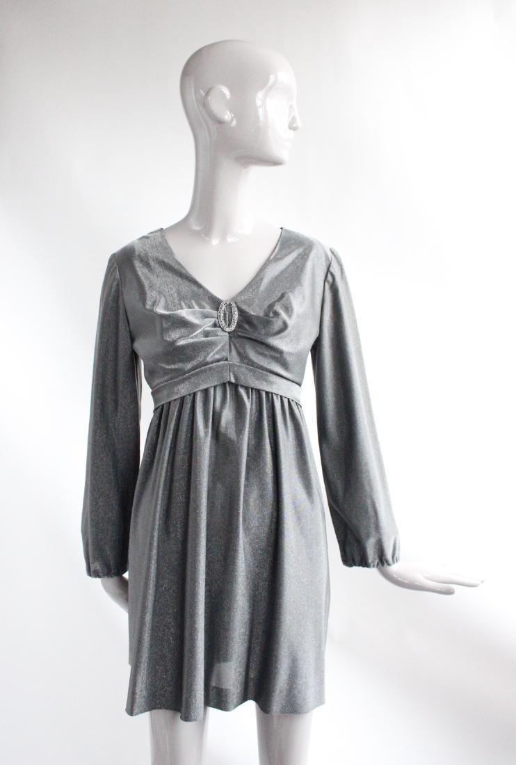 Henri Bendel Gray Lurex Knit Dress, ca. 1960's