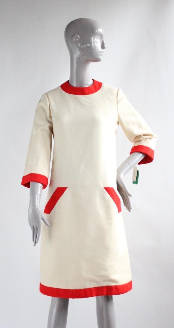 Geoffrey Beene Ivory & Red Wool Dress, ca. 1960's