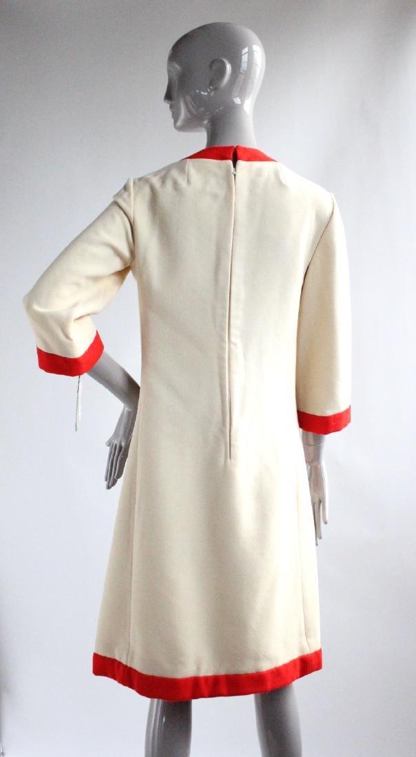 Geoffrey Beene Ivory & Red Wool Dress, ca. 1960's - 2