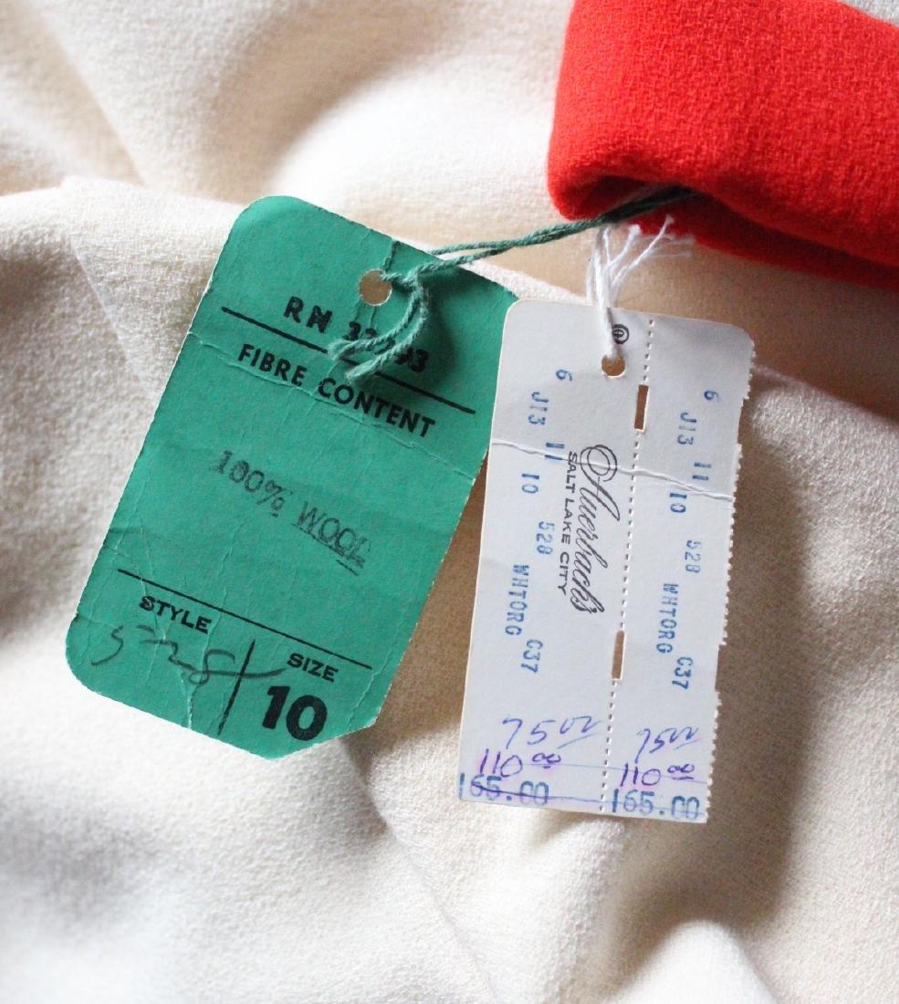 Geoffrey Beene Ivory & Red Wool Dress, ca. 1960's - 4