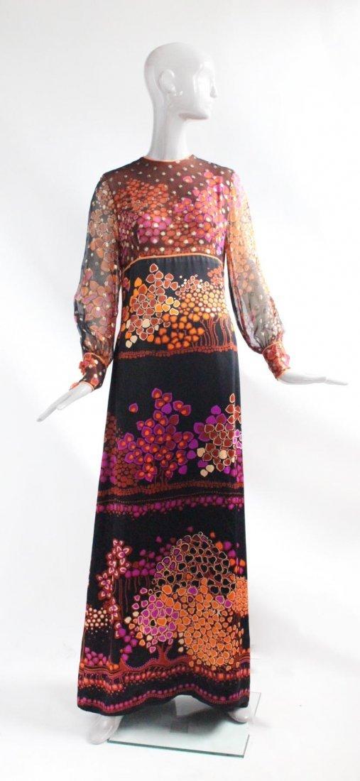 Chloe by Lagerfeld Floral Silk Maxi Dress, ca.1960's