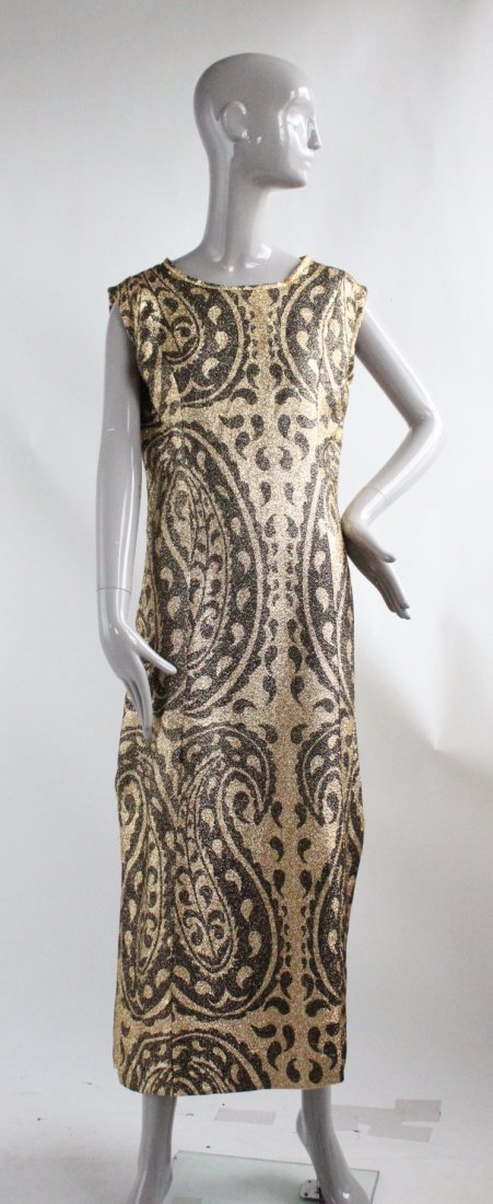 Gold Lurex Paisley Print Evening Dress, ca.1960s