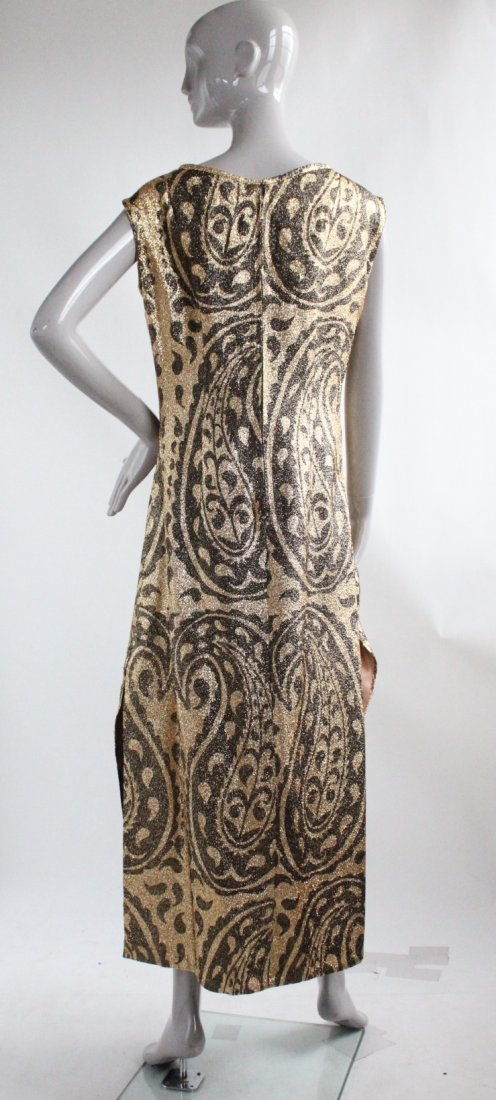 Gold Lurex Paisley Print Evening Dress, ca.1960s - 2
