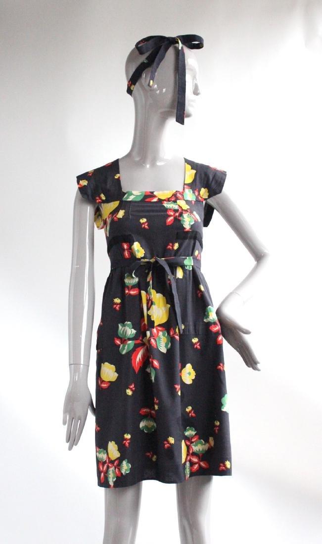 Sonia Rykiel for Henri Bendel Floral Cotton Dress 1970s
