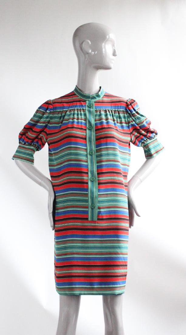 Givenchy Demi-Couture Striped Silk Dress, ca.1970s