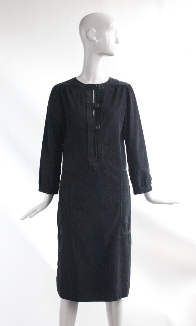 Courreges Black Corduroy Dress, ca. 1970's