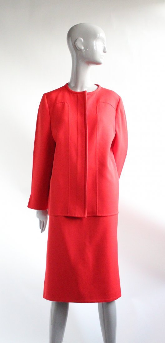 Andre Laug Couture Red Wool Suit, ca. 1970's