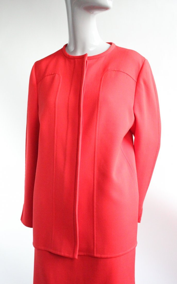 Andre Laug Couture Red Wool Suit, ca. 1970's - 3