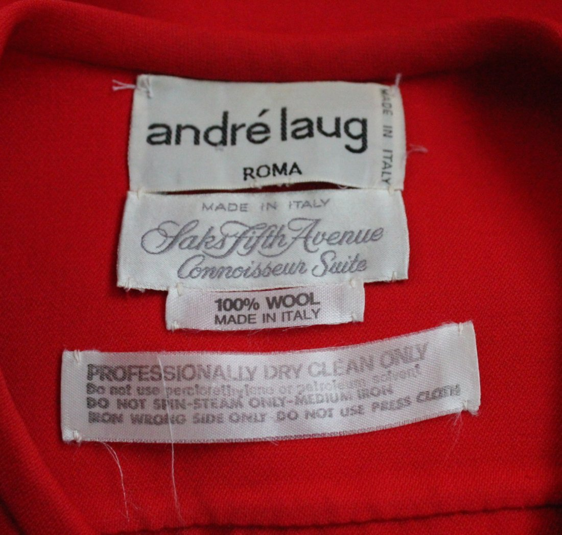 Andre Laug Couture Red Wool Suit, ca. 1970's - 4