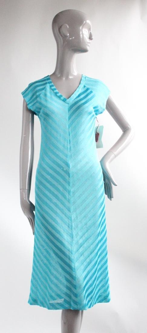 Blue Striped Bias Cut Knit Dress, ca.1970's