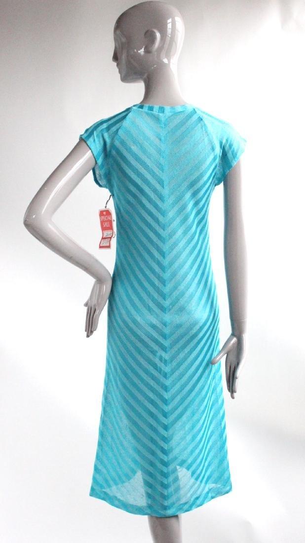 Blue Striped Bias Cut Knit Dress, ca.1970's - 2
