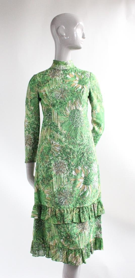 Galanos Green Lurex Blend Knit Dress, ca.1970's