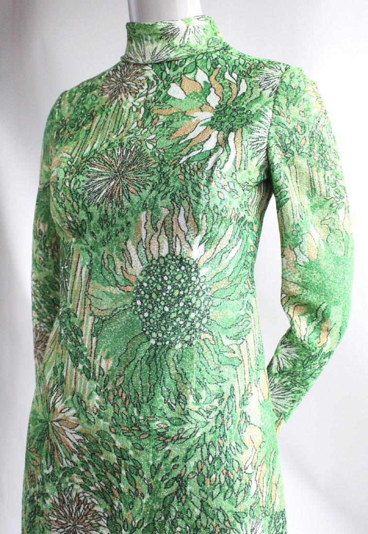 Galanos Green Lurex Blend Knit Dress, ca.1970's - 2