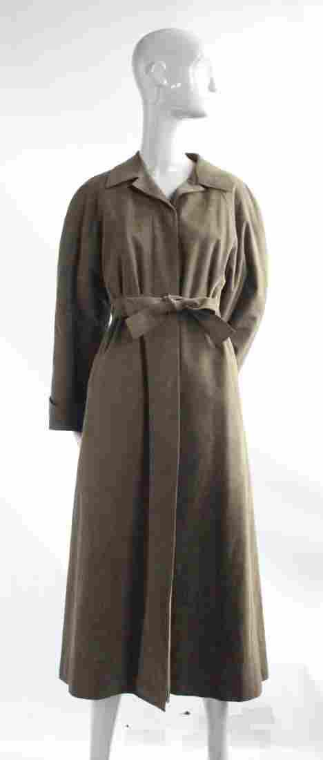 Halston Fur Lined Khaki Green Ultrasuede Coat, 1970s