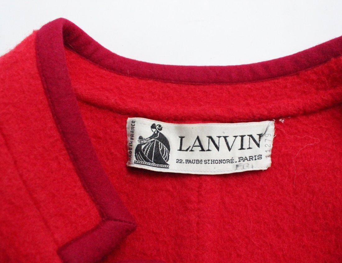 Lanvin Haute Couture Red Wool Coat, ca. 1970's - 4