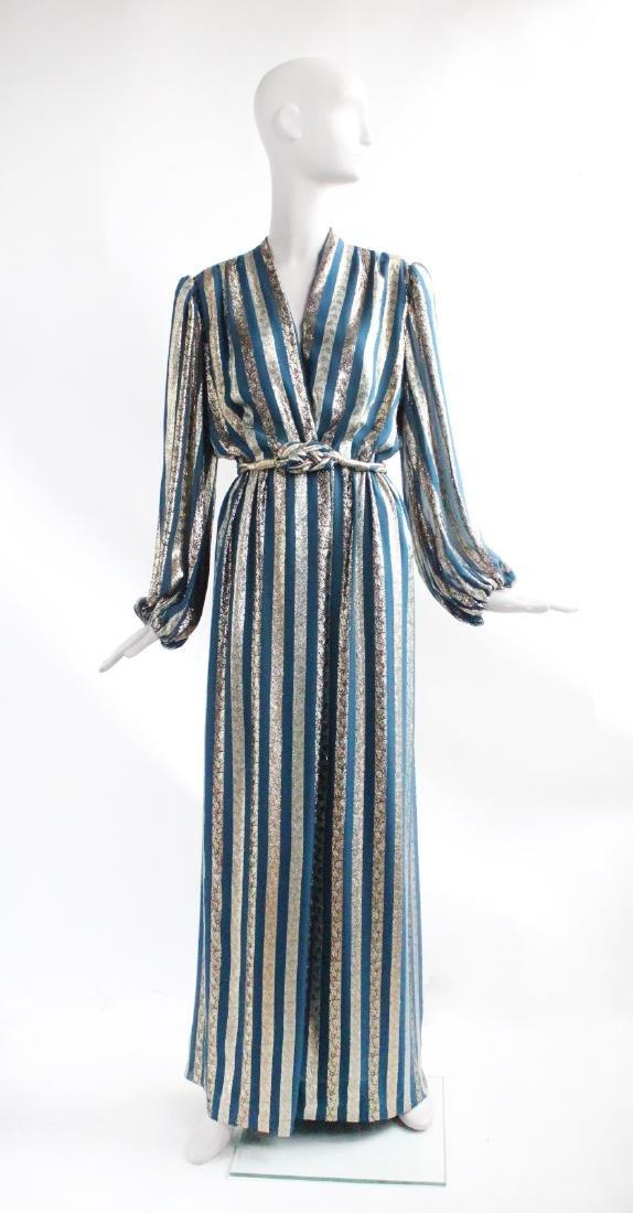 Victor Costa Gold & Teal Chiffon Evening Dress, 1970s