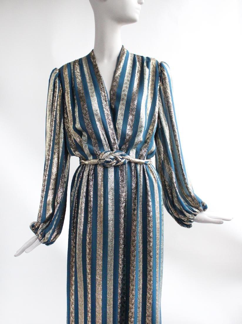 Victor Costa Gold & Teal Chiffon Evening Dress, 1970s - 2