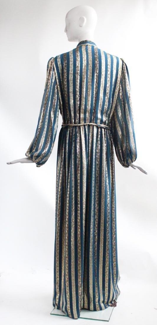 Victor Costa Gold & Teal Chiffon Evening Dress, 1970s - 3