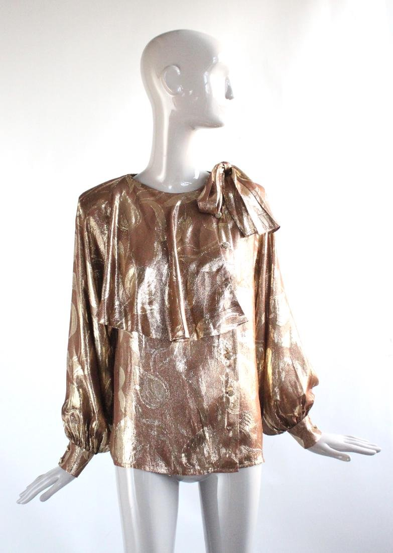 Adolfo New York Metallic Gold Silk Blouse, ca. 1970's
