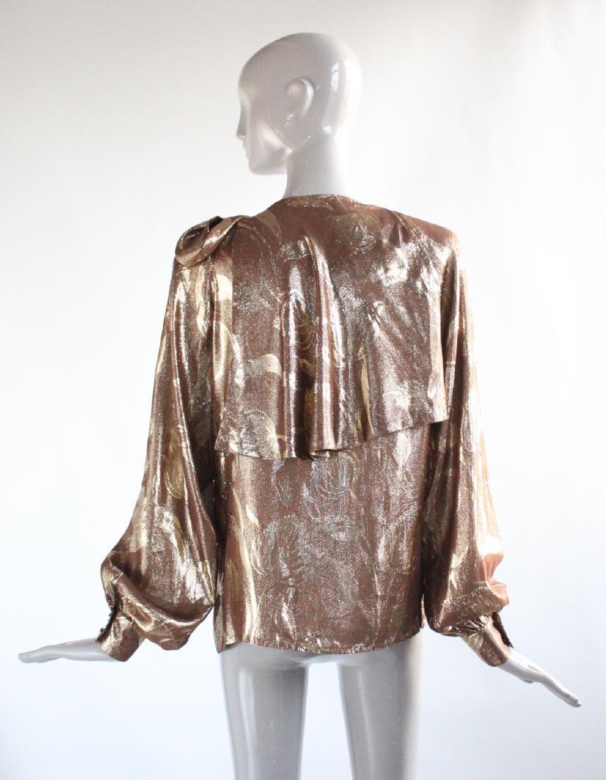 Adolfo New York Metallic Gold Silk Blouse, ca. 1970's - 2