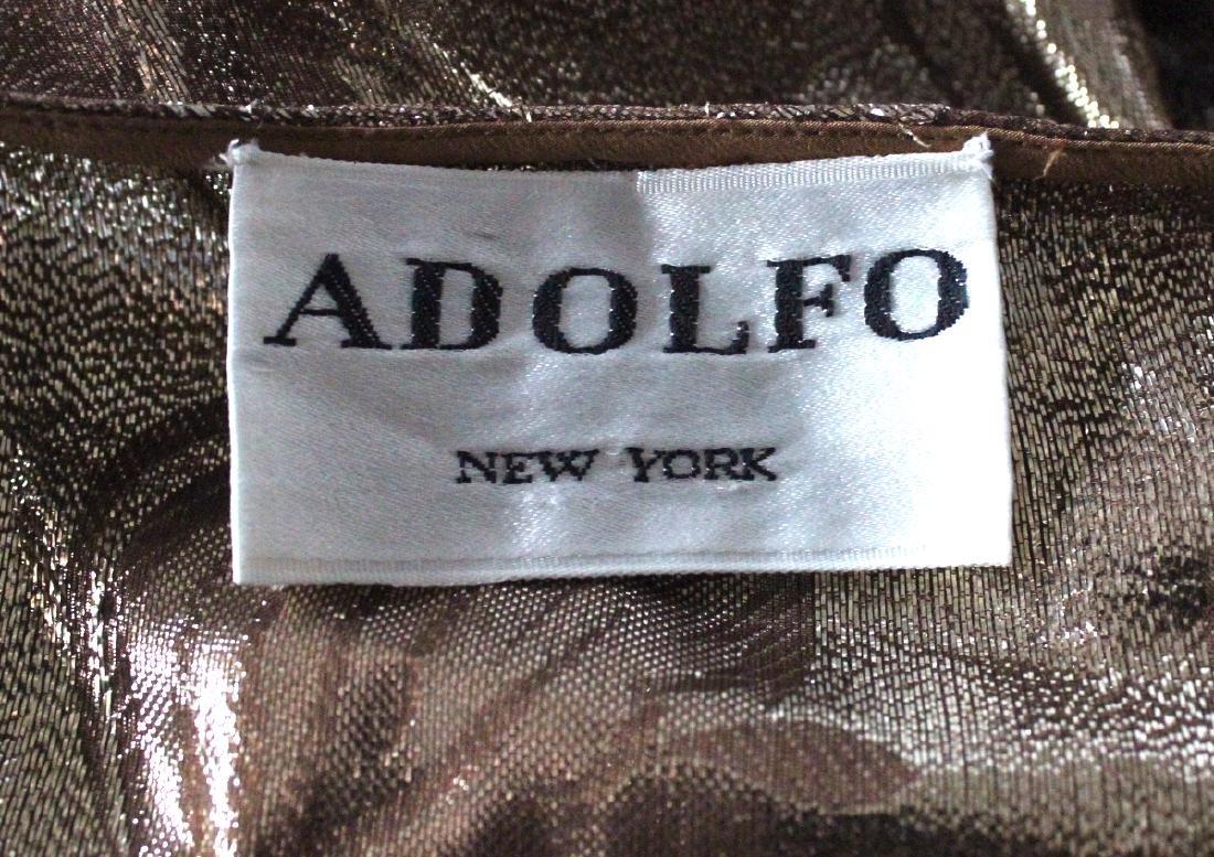 Adolfo New York Metallic Gold Silk Blouse, ca. 1970's - 3