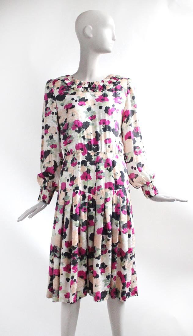 Andre Laug Couture Floral Silk Dress, ca. 1980's