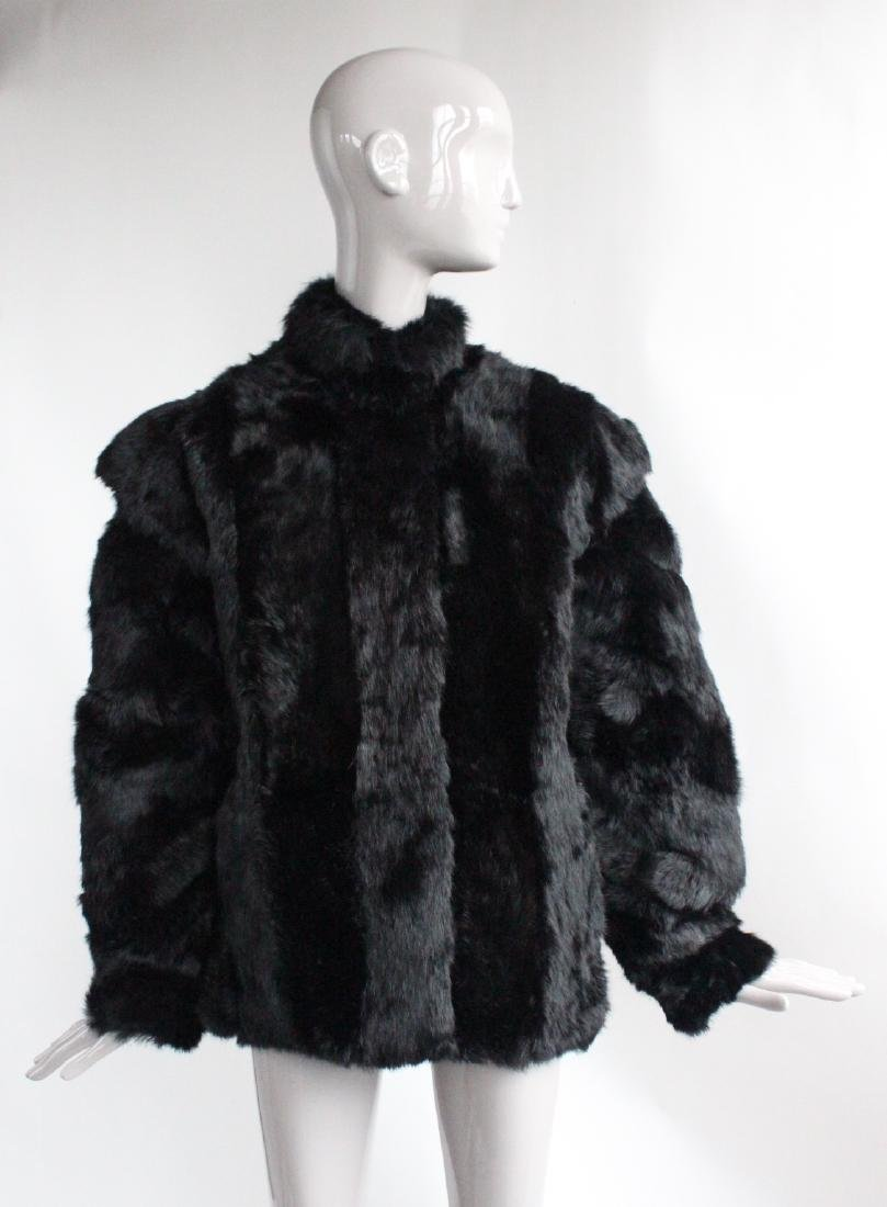 Saks Fifth Avenue Black Rabbit Fur Coat, ca. 1980's