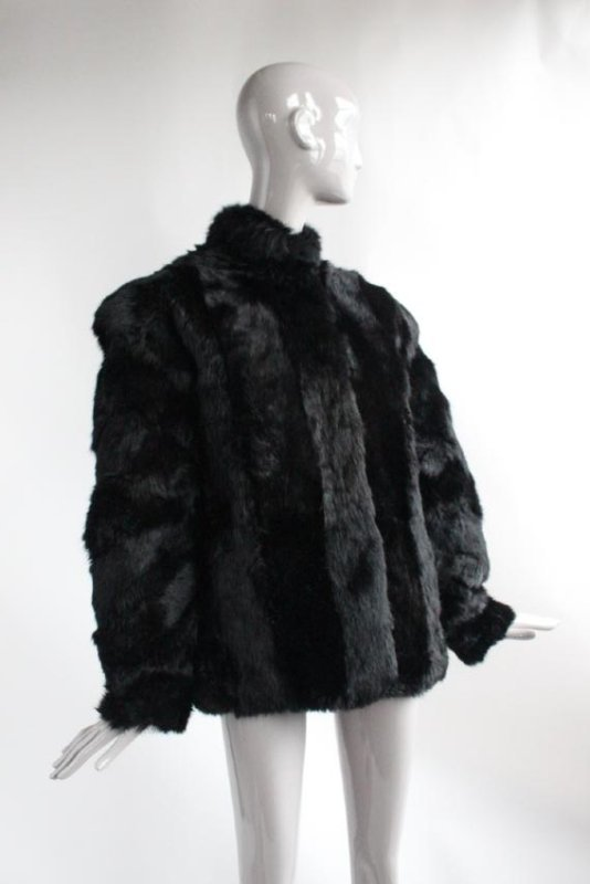 Saks Fifth Avenue Black Rabbit Fur Coat, ca. 1980's - 2