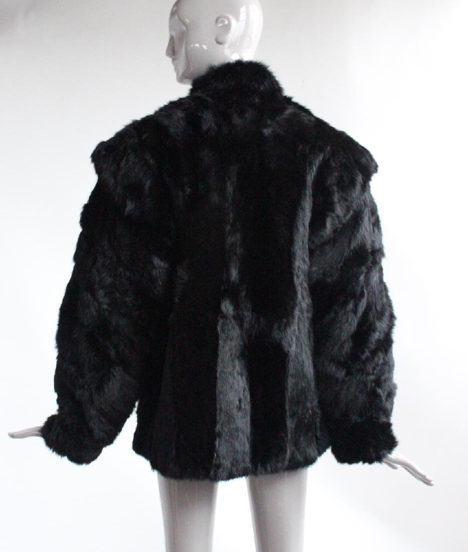 Saks Fifth Avenue Black Rabbit Fur Coat, ca. 1980's - 3
