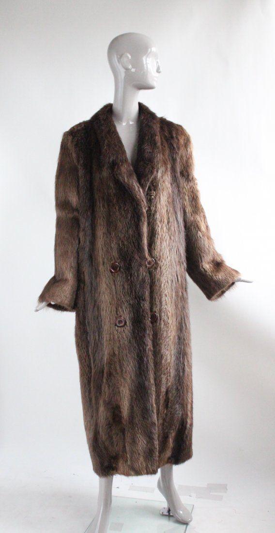 Park Place Furs Beaver Fur Full Length  Coat, 1980s
