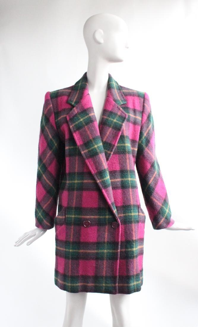 Perry Ellis by Marc Jacobs Plaid Wool Coat, ca.1991
