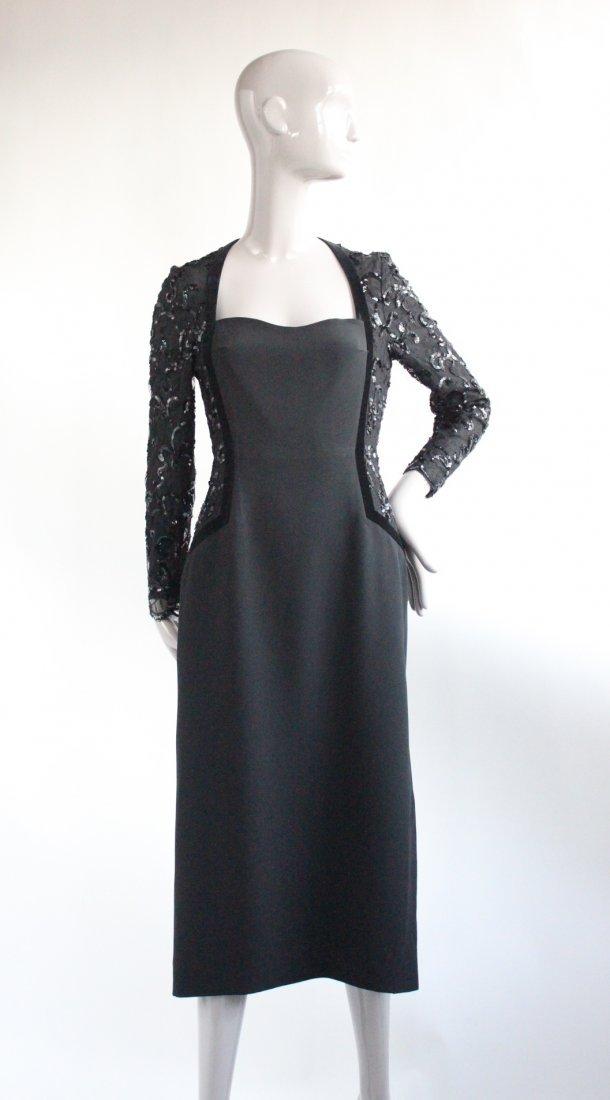 Escada Couture Black Evening Dress, ca. 1990's