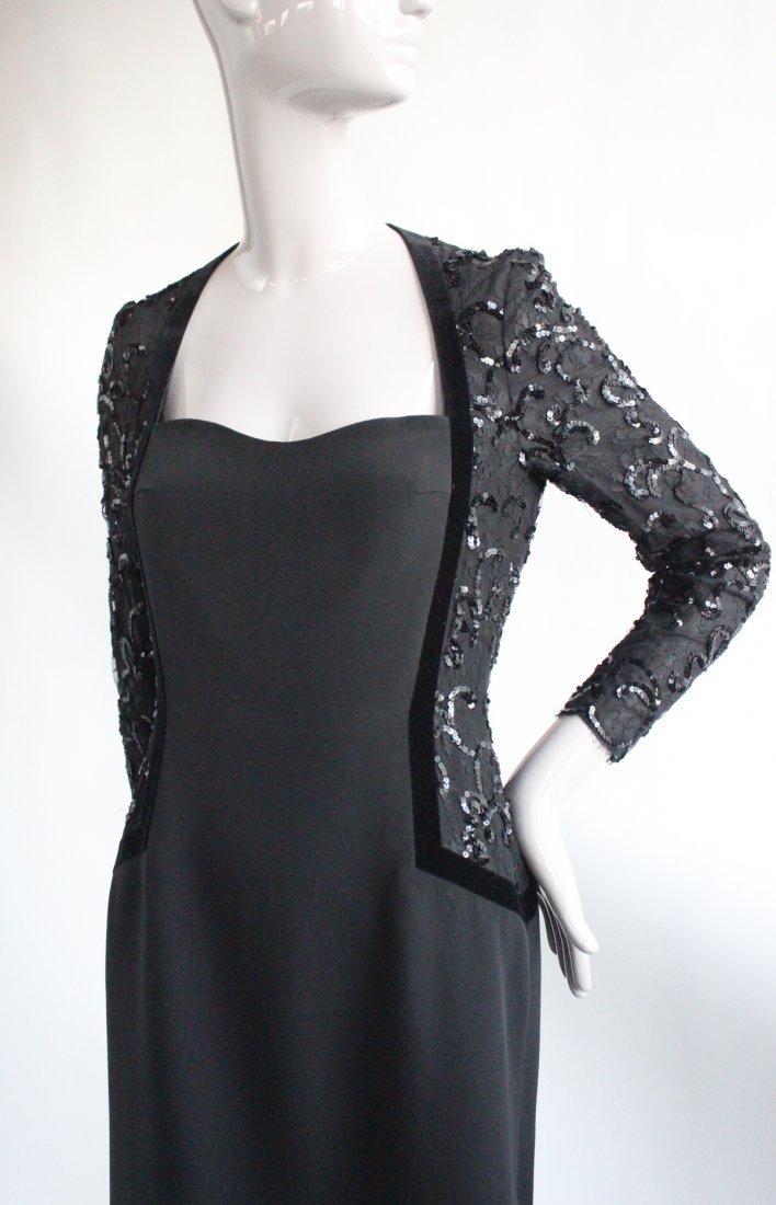 Escada Couture Black Evening Dress, ca. 1990's - 2