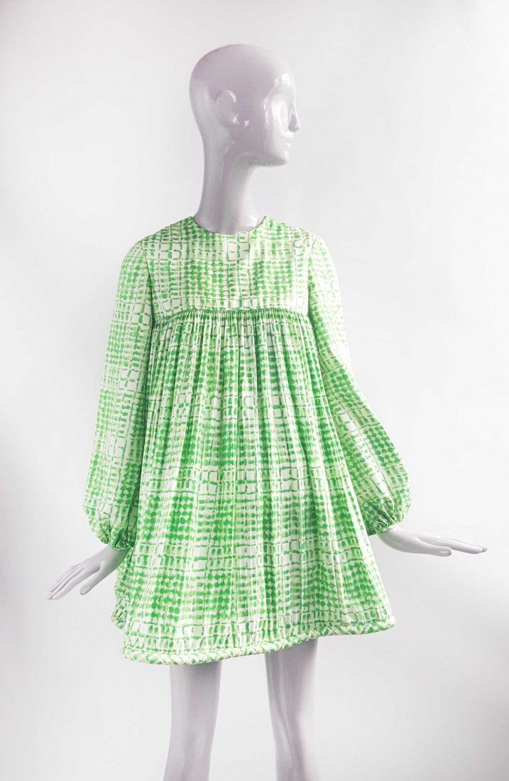 Pierre Cardin Silk Twill Green Baby Doll Dress, 1968