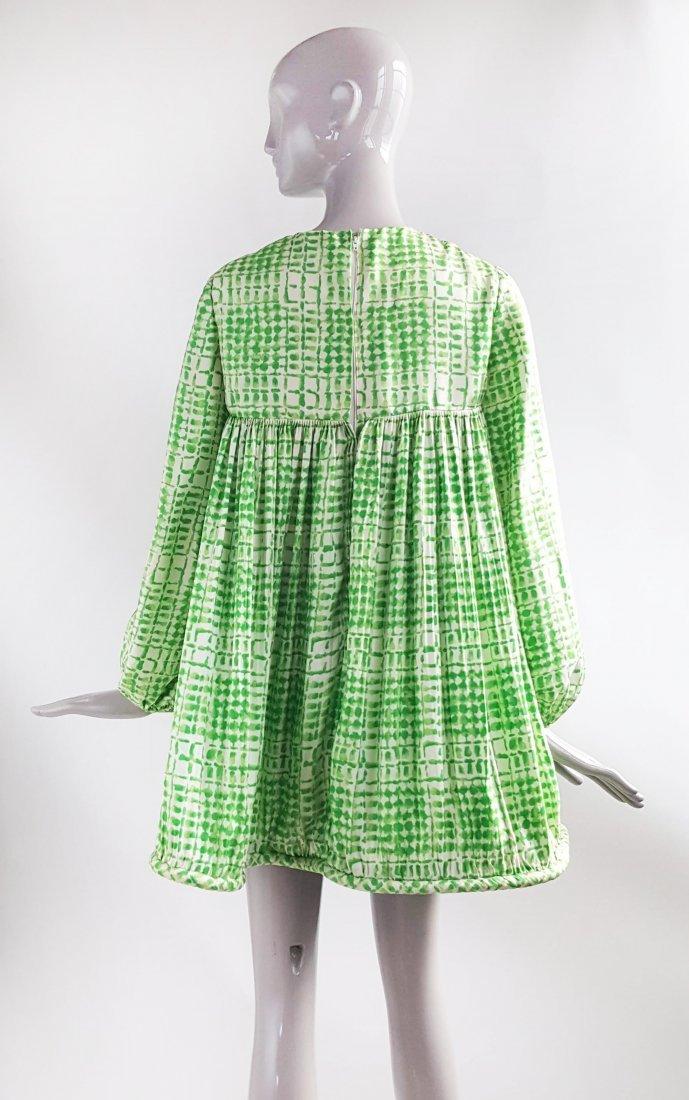 Pierre Cardin Silk Twill Green Baby Doll Dress, 1968 - 2