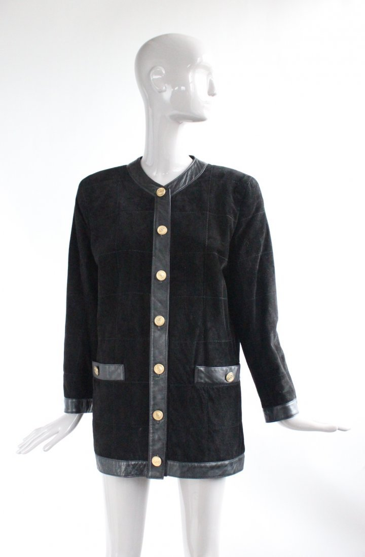 Saks Fifth Avenue Melanzona Black Suede Jacket, c1980's