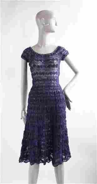 1940's Navy Wool Crochet Dress
