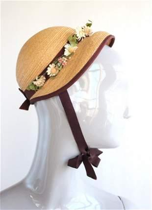 B Altman Straw Hat with Flowers, ca. 1940s