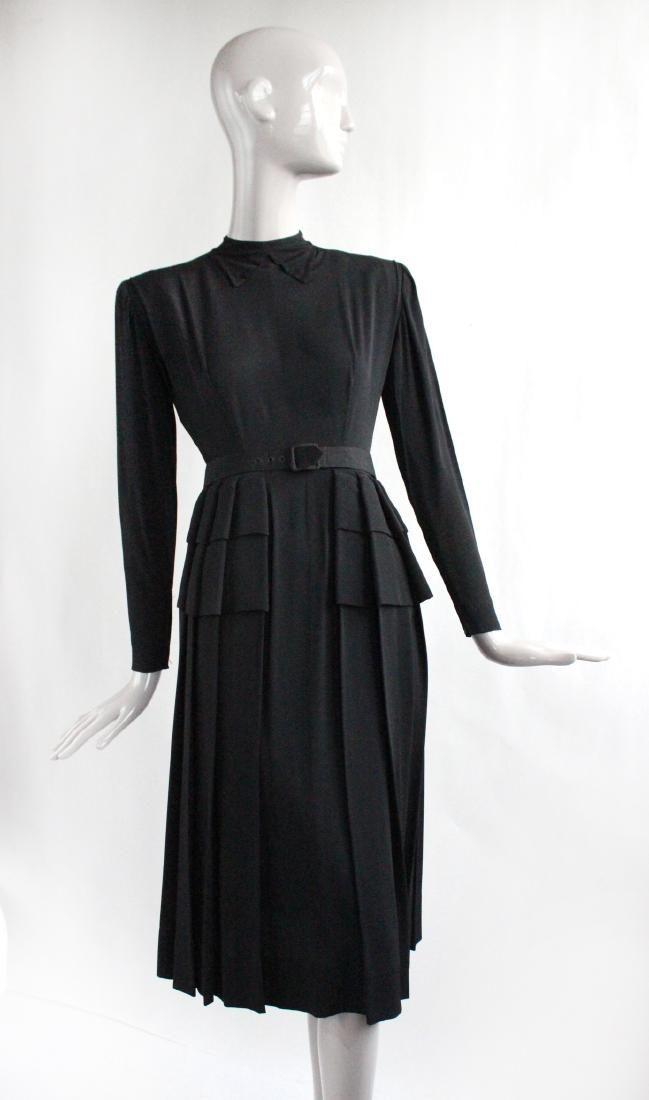 Nettie Rosenstein Black Dress, ca. 1940's
