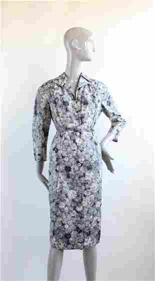 Mary Sylvia Haute Couture Floral Dress, ca. 1940's