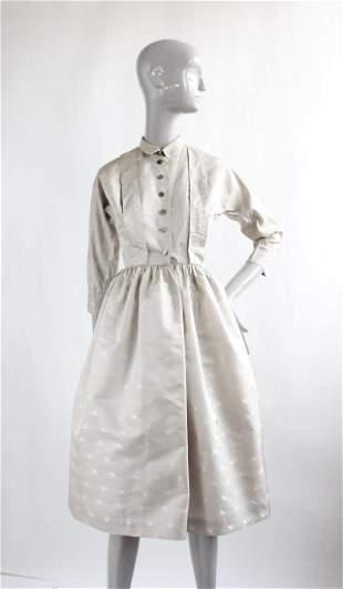 1950's Gray Silk Shirt Dress