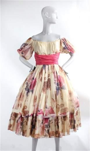 Ceil Chapman Cotton Muslin Floral Dress, ca.1950s